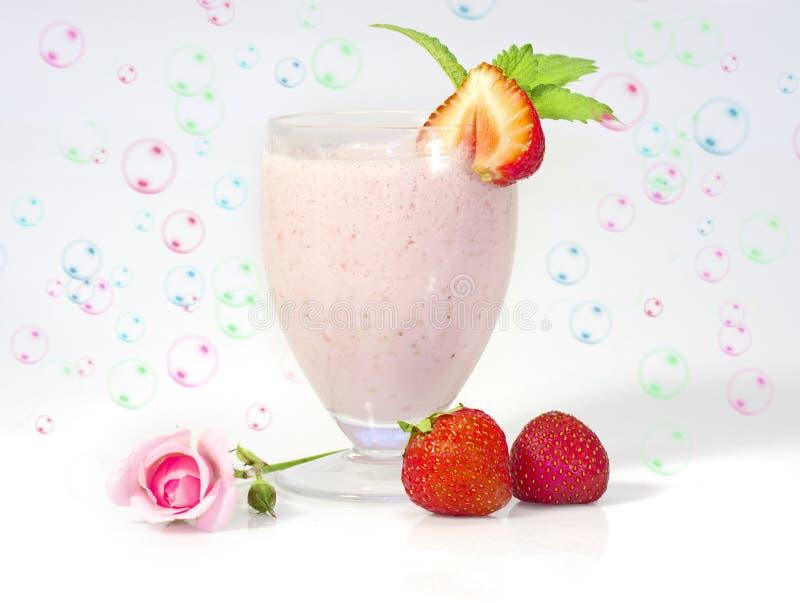 Milkshake de la fresa fotografía de archivo