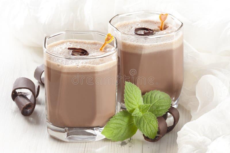 Milkshake do chocolate fotografia de stock royalty free