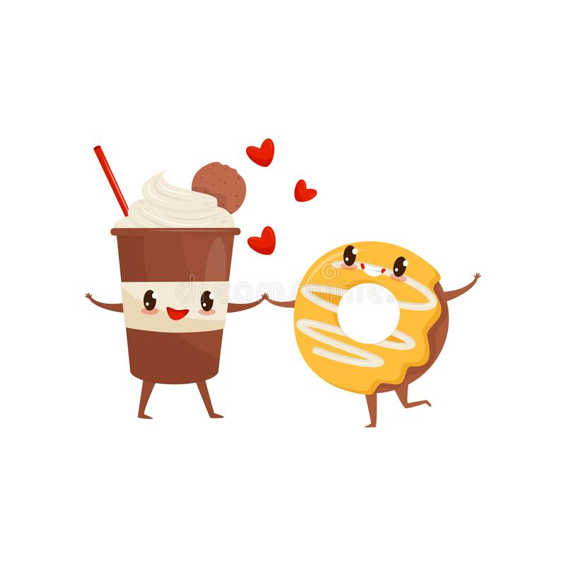 Milkshake and glazed donut are friends forever, fast food menu funny cartoon characters vector Illustration on a white. Milkshake and glazed donut are friends stock illustration