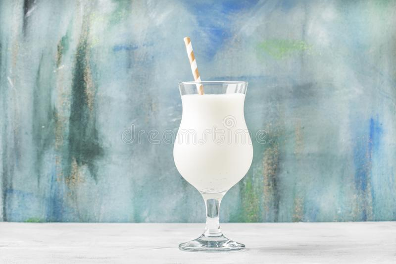 Milkshake with ice cream and natural vanilla, selective focus stock images