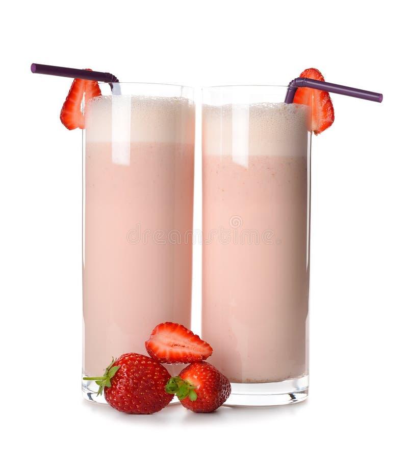 Milkshake met aardbeien stock foto