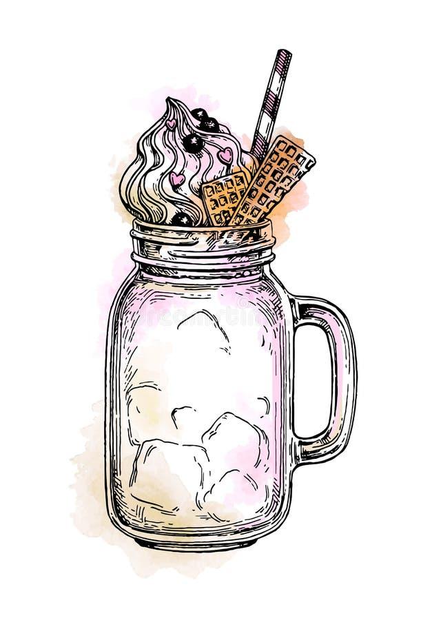 Milkshake in metselaarkruik royalty-vrije illustratie