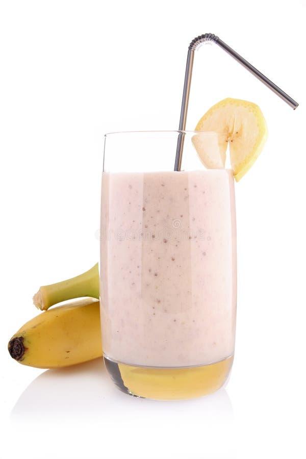 Milkshake ou smoothie da banana fotografia de stock