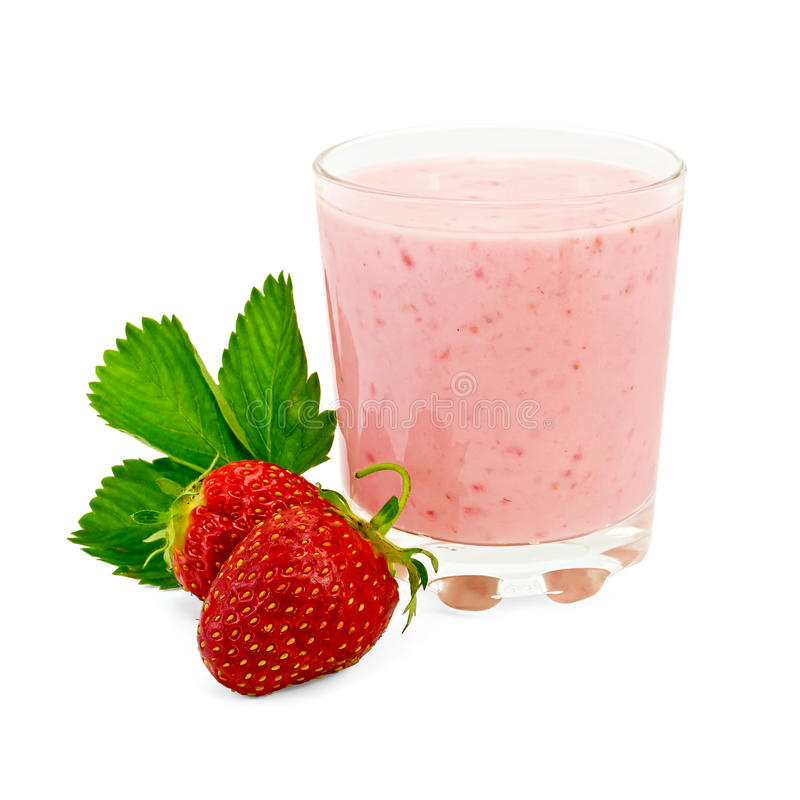 Milkshake with strawberry and a leaf stock photography