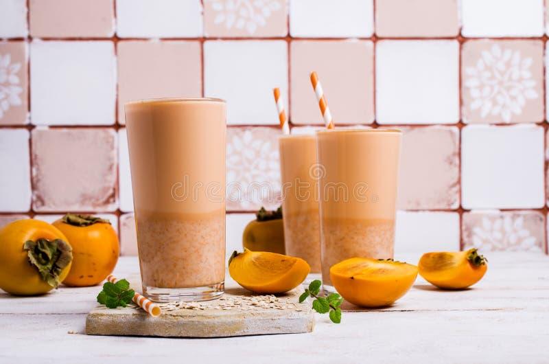 Milkshake z persimmon fotografia royalty free