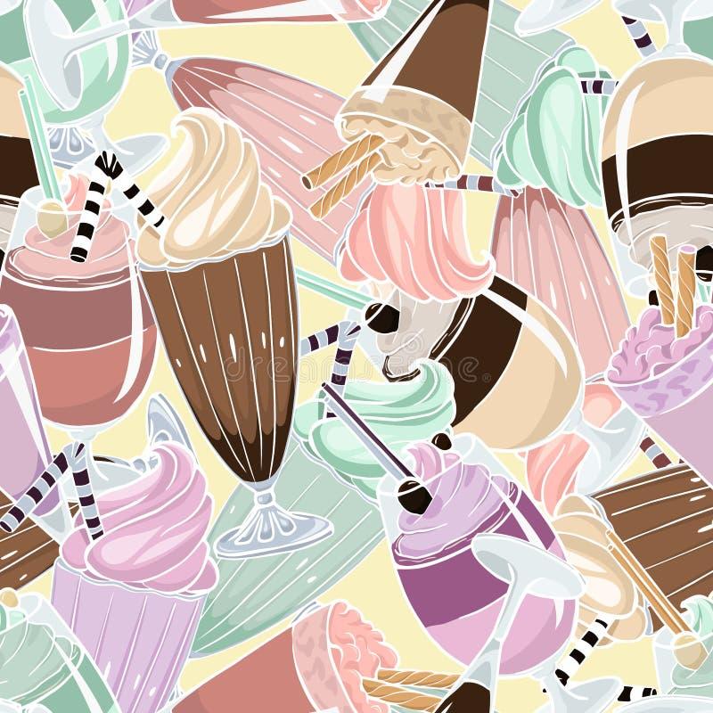 Milkshaken getrokken vector naadloos patroon royalty-vrije illustratie