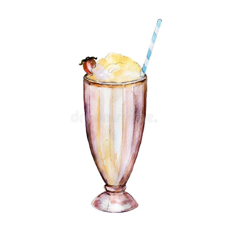 Milkshaken i exponeringsglas, vattenfärgillustration stock illustrationer