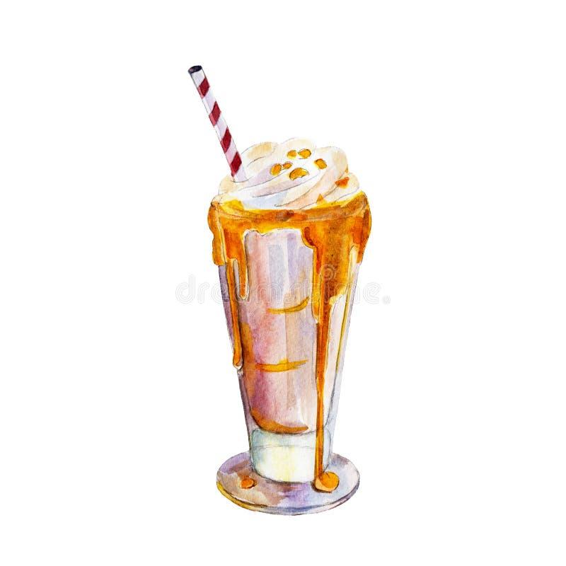 Milkshaken med karamell och glass, vattenfärgillustration stock illustrationer
