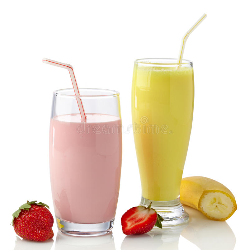 Milkshakes клубники и банана стоковое фото