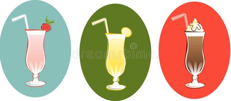 Milkshakes retros ilustración del vector