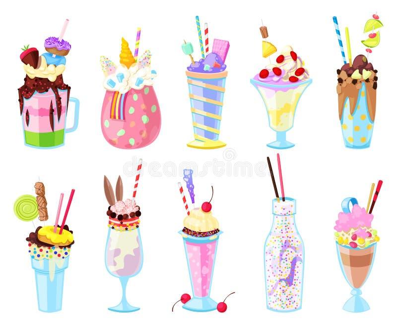 Milkshakes vector healthy ice-cream drink in glass or fresh milk beverage mix in bottle illustration set of icecream vector illustration