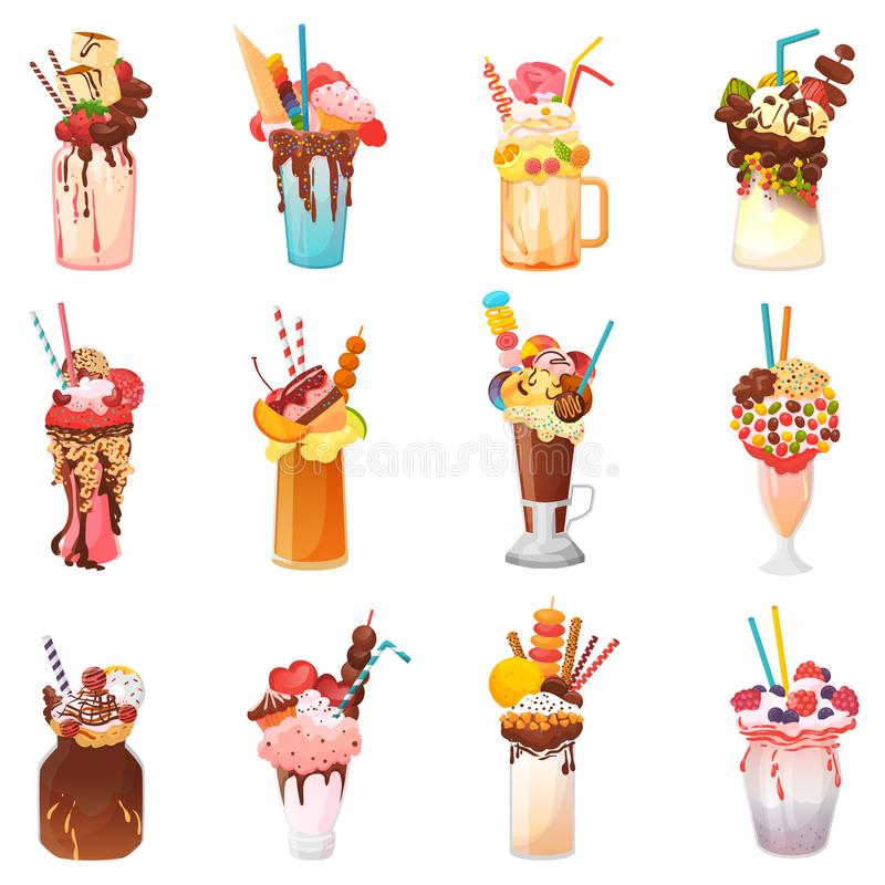 Milkshakes vector healthy ice-cream drink in glass or fresh milk beverage mix in bottle illustration set of icecream stock illustration