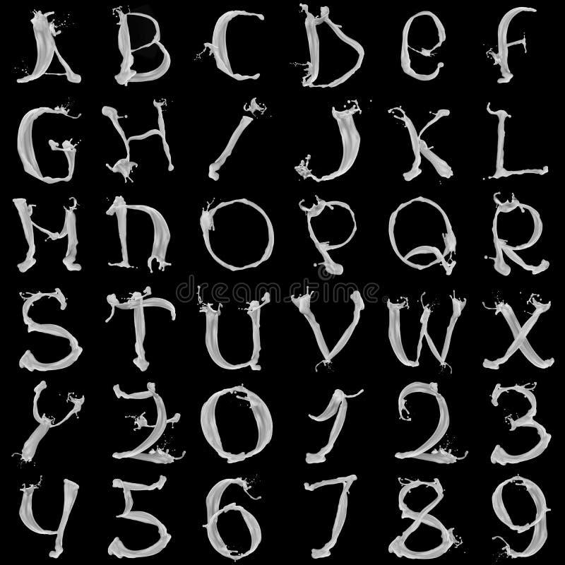 milky alfabet stock illustrationer