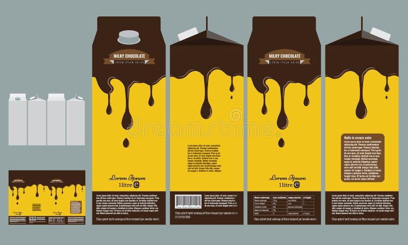milky chocolate box branding package design template stock vector