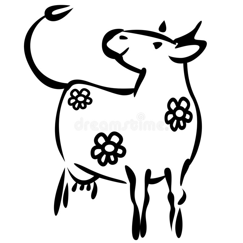 Download Milky cow stock vector. Image of flower, nice, label, cartoon - 7673024