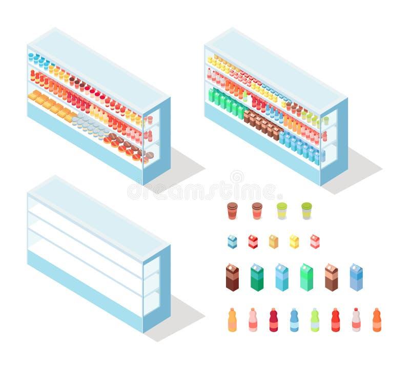 Milky jedzenie w sklepach spożywczych Pokazuje Isometric wektor royalty ilustracja