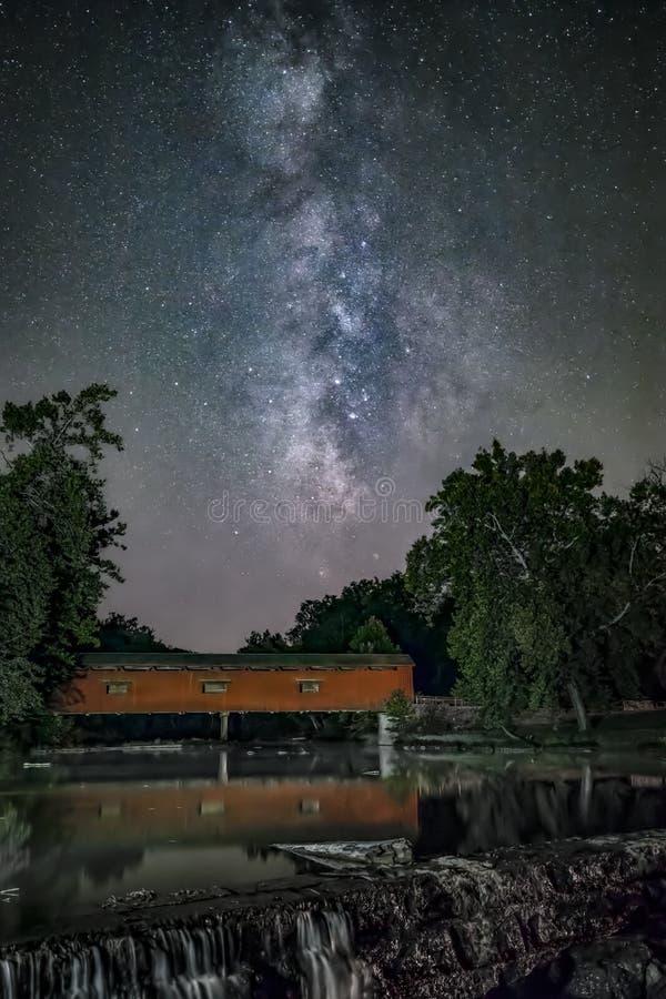 Milky sposób i katarakta Zakrywający most - Indiana zdjęcia stock