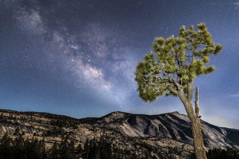 Milky sposób Nad chmura odpoczynkiem - Yosemite park narodowy fotografia royalty free