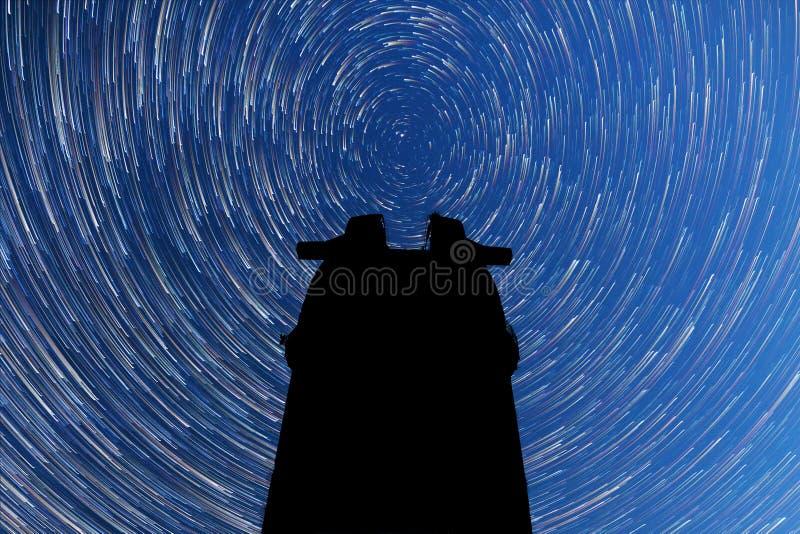 Milky sposób spadające gwiazdy Kometa tryb Obserwatorska sylwetka zdjęcie royalty free