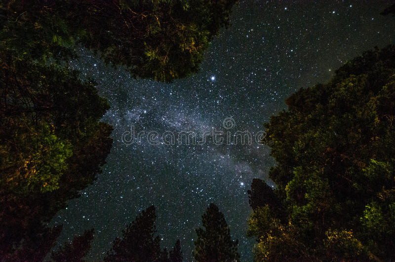 milky sposób w Yosemite parku obraz stock