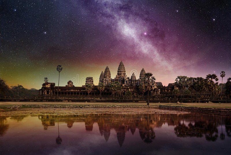 Milky way above the angkor wat temple stock photography