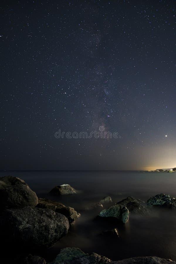 Milky Way above Arenzano stock photos