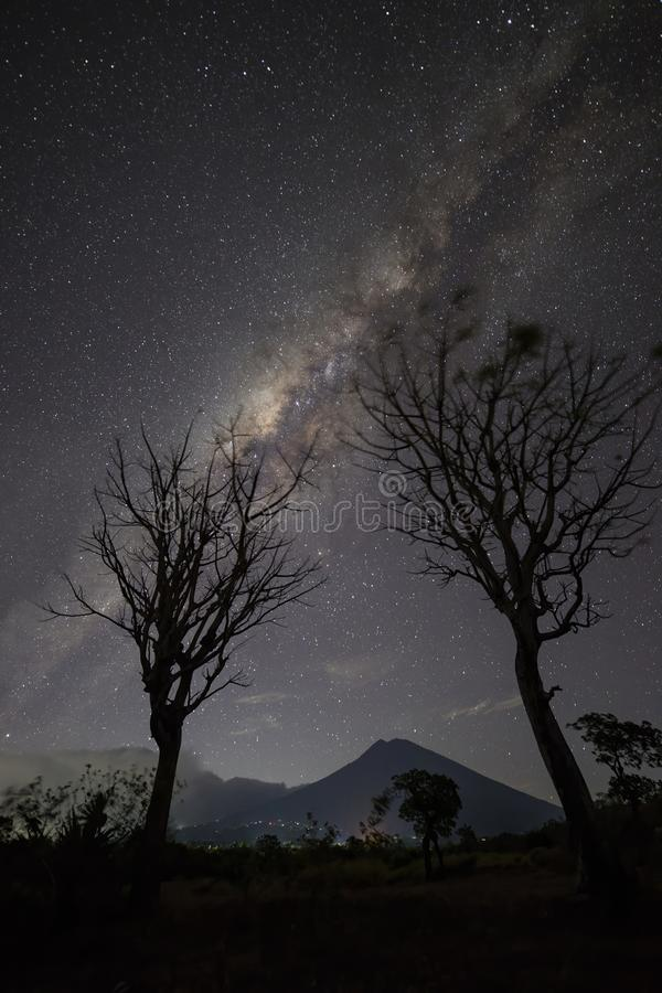 Milky Way Above Volcano Mount Agung, Bali. Milky Way just above Volcano , Mount Agung , Bali Indonesia with 2 bare tree stock photo
