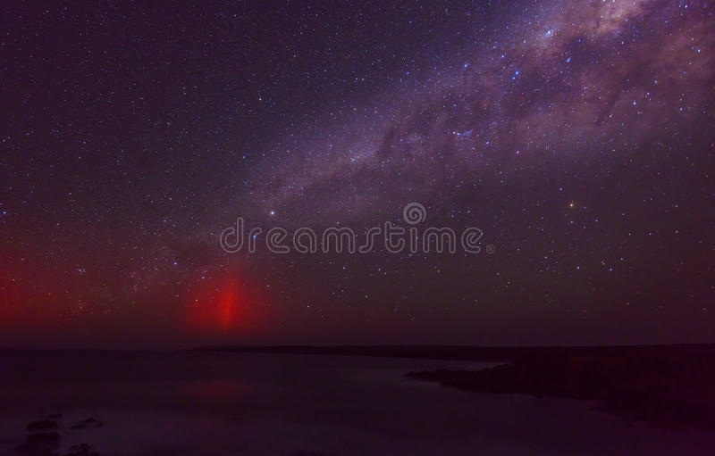 Milky Way. And aurora over the ocean royalty free stock photo