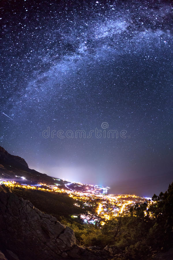 Milky Way. Beautiful summer night on the sea stock image