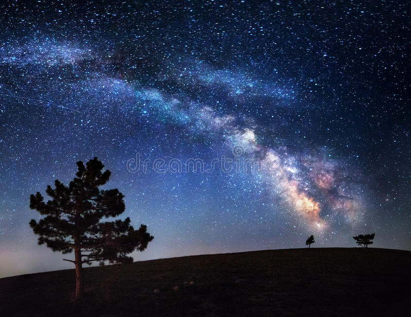 Milky Way. Beautiful summer night sky with stars in Crimea royalty free stock photography