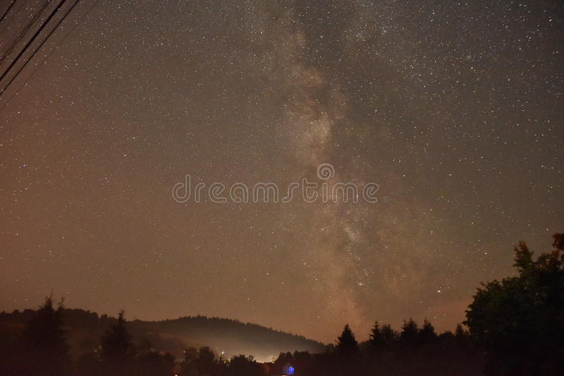 Milky way in Bieszczady mountains royalty free stock images