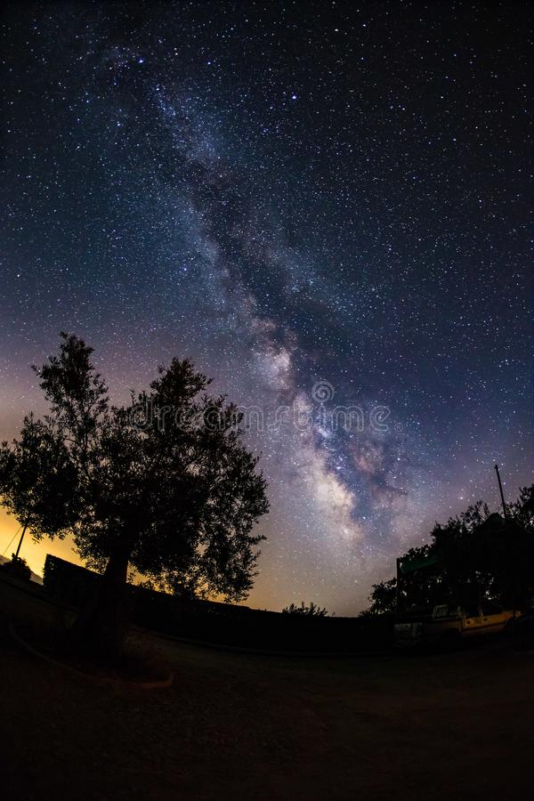 Milky way in bloom over the night sky in Sierra Nevada, Spain royalty free stock photography