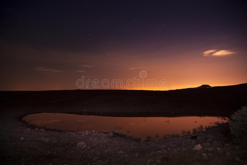Milky Way bredvid en sjö med träd royaltyfri foto