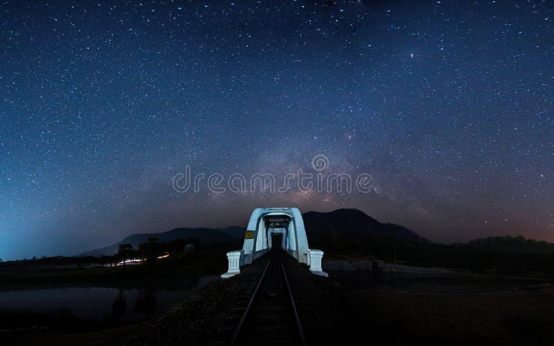 Milky way with bridge royalty free stock photo