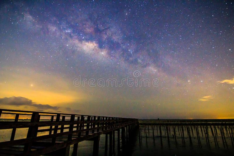 Milky way at the bridge stock image