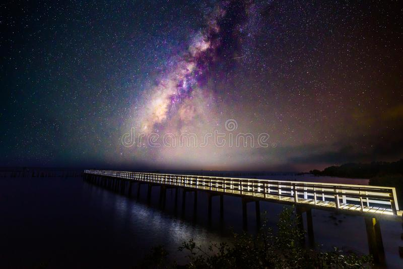 Milky way at the bridge stock photography