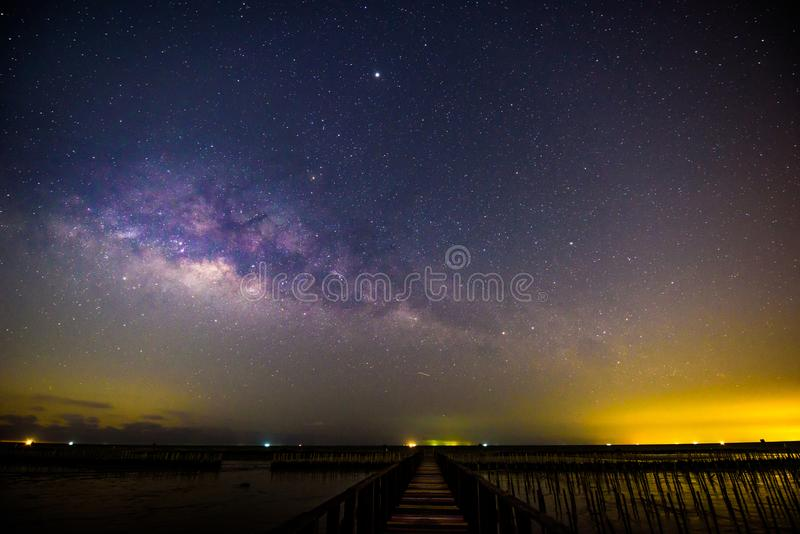 Milky way at the bridge stock photos