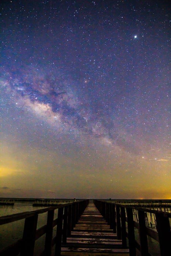 Milky way at the bridge stock photo