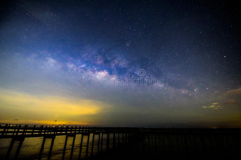 Milky way at the bridge royalty free stock images