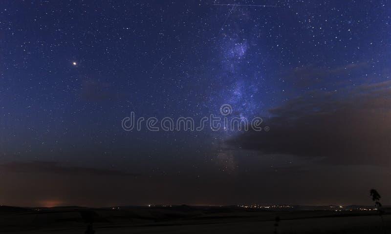 Milky Way at dawn over Gobustan royalty free stock image