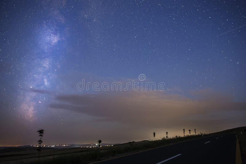Milky Way at dawn over Gobustan stock photos