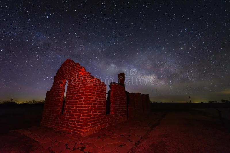 Milky way at Fort Griffin, Texas USA. Milky way shot with ruined fort foreground at Fort Griffin State Historic site, Texas USA royalty free stock photography