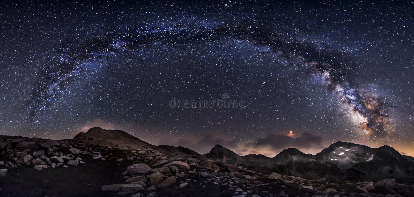 Milky Way galaxy and mountain peaks panorama. Amazing scene of Pirin mountains and starry sky at night in Bulgaria. Rocks with peaks and sky with stars. Night royalty free stock photography