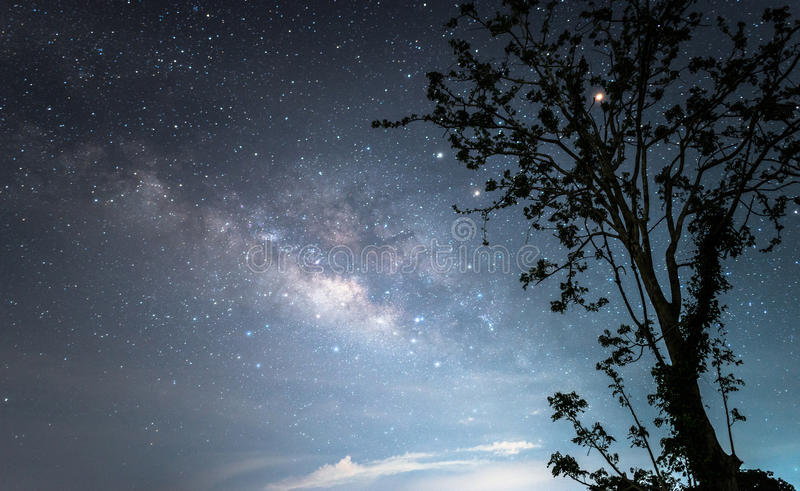 The Milky way galaxy over the starry night sky. stock photos