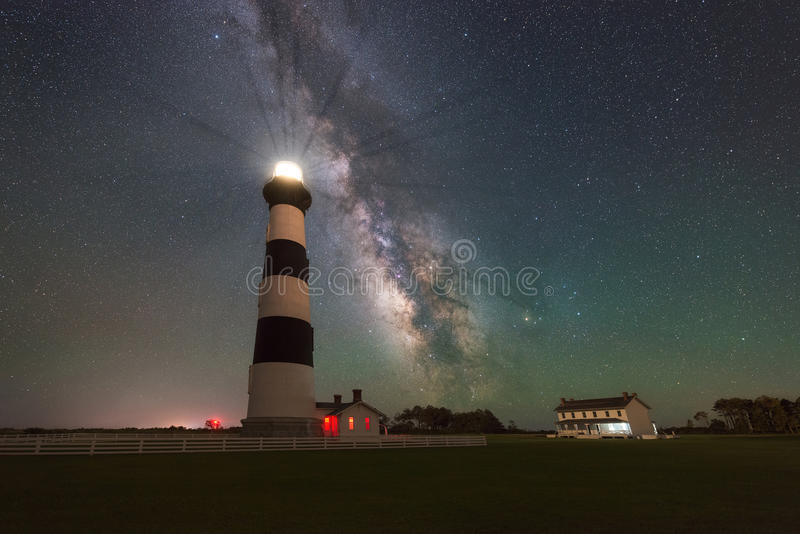 Milky Way Galaxy rising behind Bodie Island Lighthouse. The gorgeous night sky behind Bodie Island Light stock photos