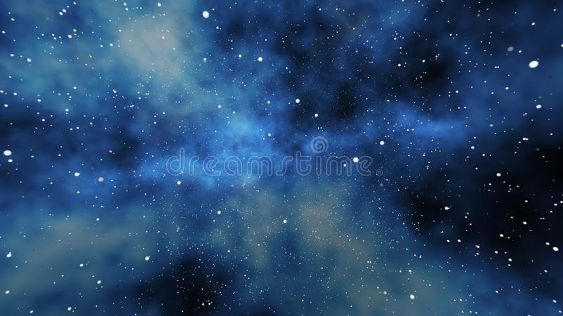 Milky-Way Galaxy Stars, Planets. A gigantic 3d illustration of a milky-way gelaxy full of stars, comets,planets, meteors, in the huge universe expanding as a royalty free illustration