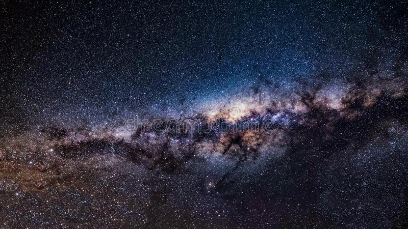 Milky way galaxy with stars and space dust in the universe. Close-up of Milky way galaxy with stars and space dust in the universe royalty free stock photo