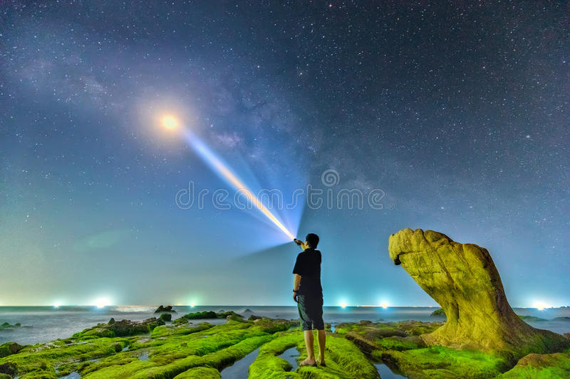 Milky Way inside the ancient stone fossil royalty free stock photos