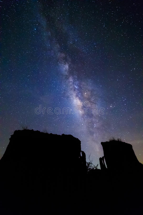 Milky way at Lalu rock formations, Sakaeo, Thailand. Milky way at Lalu rock formations park, Sakaeo, Thailand royalty free stock photography