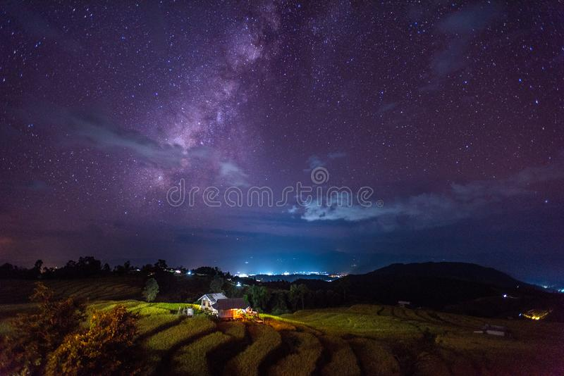 Milky way and little hut on rice fields in terraced at Mae-Jam Village chiang mai ,Thailand royalty free stock images